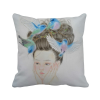 Pretty Girl Blue Bird Chinese Painting Polyester Toss Throw Pillow Square Cushion Gift tfs cotton linen leaning cushion covers square 17 7 17 7 throw pillow case colored fish