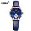 Роскошный бренд ROSDN кварцевые часы женские Элегантные розовые золотые часы с простыми циферблатами из телячьей кожи для женщин