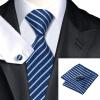 Н-0337 моде мужчины Шелковый галстук набор галстук платок Запонки Синяя полоса набор галстуков для мужчин формальных Свадебный бизнес оптом н 0343 моде мужчины шелковый галстук набор галстук платок запонки синяя полоса набор галстуков для мужчин формальных свадебный бизнес оптом