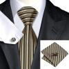 n-0529 Vogue мужчин шелковым галстуком набор хаки полоса галстук платок запонки набор связей для мужчин официальный свадебный бизнес оптом оптом крепление для авторегистратора