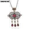 Великолепный бренд Турецкий дизайн Цветочные ожерелья Тонкая цепь Красная смола Акриловые подвески Vintage Party India Women Weddi великолепный 1999hd 2