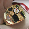 Hot Selling Natural Onyx 18k Gold Plated NEW Mens Knights TEMPLAR Past Commander Crest Ring * hot selling 100% natural pseudo ginseng