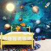 3D обои Космическая Вселенная Детская комната Звездные небесные планеты Обои 3D-мультфильм с мультфильмом Papel De Parede Infantil 3D Fresco custom papel de parede infantil see graffiti mural for sitting room sofa bedroom tv wall waterproof vinyl which wallpaper