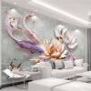 Фотообои 3D Стерео Рельеф Lotus Fish Mural Living Room Study High Quality Interior Home Decor Настенные обои Papel De Parede