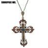 Мода этнические религиозные ювелирные изделия цветок крест ожерелье античный золото цвет смолы женщин духовный символ подвеска оже подвеска листик гингко золото