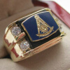 Hot Selling Natural Onyx 18k Gold Plated, NEW! Mens Masonic Past Master Crest Gold Ring