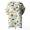 Large size women's burst models shirt printing small T-shirt aliens short-sleeved chiffon shirt bat shirt L02