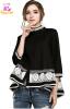 XL - 5XL плюс размер vintage хлопок осень 2017 черный белый блузка женщин большой размер 3/4 рукав свободная рубашка случайный айболит чуковский к и