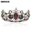 Vintage Ancient Princess Crown Women Tiaras Red Resin Цветочные украшения для волос Античные золотые кристаллы Вина Этническая мис 00009 red gold bride wedding hair tiaras ancient chinese empress hair piece