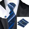 n-0865 Vogue мужчин шелковым галстуком набор голубой полосой галстук платок запонки набор связей для мужчин официальный свадебный бизнес оптом жидкое стекло где оптом