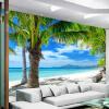 Пользовательский размер 3D-фотообои Обои для рабочего стола Живая комната ТВ-фон Юго-Восточная Азия Приморский пейзаж Волна и пляж Дерево Стены