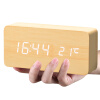 Код будильника звуковой сигнал тревоги три группы творческого будильника немой температура электронные светящиеся гостиная часы часы дети интеллектуальные деревянные прикроватные тумбочки 1299-01 черный деревянный белый