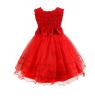Девушки розы цветок лук галстук принцесса платье платье тюль свадебное платье невесты крещение платье