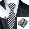 n-1040 Vogue мужчин шелковым галстуком установлены белые plaids галстук платок запонки набор связей для мужчин официальный свадебный бизнес оптом оптом крепление для авторегистратора