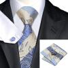 Н-0492 моде мужчины Шелковый галстук набор синий Пейсли галстук платок Запонки набор галстуков для мужчин формальных Свадебный бизнес оптом
