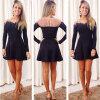 Lovaru ™летом стиль 2015 новых женщин платья Бесплатная доставка черного кружева с длинным рукавом платье мини Платье женщин