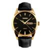 Время красоты skmei часы мужская мода случайный двойной календарь кварцевые мужские часы 9073 золотая раковина черная лапша