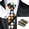 Н-0361 моде мужчины Шелковый галстук набор пледы&проверили зрение галстук платок Запонки набор галстуков для мужчин формальных Свадебный бизнес оптом оптом крепление для авторегистратора