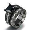 Black Gun Plated Black Square Каменное кольцо устанавливает роскошный дизайн Модные кольца для пальцев для женщин Полный размер Вся продажа R627 каменное сердце