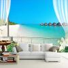 Пользовательские 3D-обои для рабочего стола Фрески Мальдивы 3D-стереоскопическое окно Балкон Пляж Вид на море Заставка Настенная панно Нетканые обои