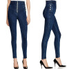 цены Autumn Women Fashion Jeans High Waist Button Denim Jeans Full Length Pencil Pants Feminino Trousers