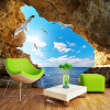 Пользовательские фото Mural Wall Paper 3D Sea Island Cave Blue Sky Белые облака Чайки Большие обои для рабочего стола Гостиная Спальня Декор голубое небо белые облака зеленые листья голуби потолочные фрески пользовательские фото бумага