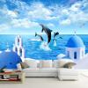Пользовательские 3D-обои для фото Blue Sky White Clouds Ocean Sea Island Dolphin Living Room Диван Телевизор Фон Украшение Стены Картина baricco a ocean sea