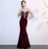 Вечернее платье из горного хрусталя вечернее платье новый банкет длинный благородный элегантный тонкий хвост рыбы ежегодный хозяин хозяин дома солнца