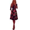 Lovaru ™летние Новая мода женщины печати элегантность платья женщины на шее половина длина рукава колена линии полиэфирные платья