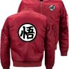 Dragon Ball Word Bomber Flight Flying Jacket Winter thicken Теплые молнии Мужские куртки Аниме Мужские повседневные пальто