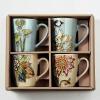 Рисованные креативные кружки для кофе Чашка для чая Чашка для завтрака Керамическая чашка для молока Комплект из 4 чашка для яйца colour caro