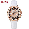 OLEVS Brand Luxury Women Watches Gold hollow out Красивый дизайн Кварцевые женские часы Red Leather Clock Wristwatch Luminous k colouring women ladies automatic self wind watch hollow skeleton mechanical wristwatch for gift box