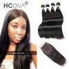 HCDIVA Монгольские прямые прямые человеческие волосы 4 комплект с кружевным закрытием Свободная часть Средняя часть 3 Волнистая часть класса 7A Прямой уток
