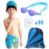 где купить Подходящие детские купальники мальчиков плавают сундуки для мальчиков разделяют большие и средние детские купальники детский костюм синий костюм из пяти частей L по лучшей цене