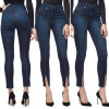 S - XXL 2018 Skinny Slim High Waist Pencil Pants Women Stretch Sexy Denim Jeans Bodycon Leg Split Trousers gzdl fashion summer style denim ripper slim pencil jeans female vintage blue skinny high waist women causal fitness pants cl3756