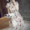 Lovaru ™ Хан издание летнее платье новый раунд воротник рукав летучая мышь печатных сладкий талию воспитать нравственность платье белый свитер летучая мышь