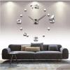 3D настенные часы безрамные Современные зеркальные металлы Большие настенные наклейки Часы настенные часы Room Home Decorations