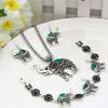 Урожай турецкий слон ювелирные изделия наборы ретро серебро цвета Индии ювелирные изделия ожерелье крючок серьги цветок браслет Бо