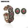 Хорошая сделка Турецкая женская смола Bangle & Earrings Jewelry Устанавливает античный золотой цвет Упругий цветок Bangle Стад