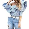 Off Плечи Женщины Блузка Повседневная длинная рукава Оборки Топы Блузка Синяя Белая Полоса Блузка spicery блузка