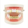 Аканэ Хип-хоп Золотые зубы Гриль Верхняя и нижняя гриль Зубная щетка для рта Панк Зубные шляпы Cosplay Party Tooth Rapper Jewelry съ мные зубные протезы
