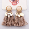 Серьги Tassel Dangle Bohemian Earrings для женщин Монета Boho Fringe Drop Серьги Камни Vintage Jewelry Brincos circle strip dangle drop earrings