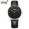 Мужские часы Женские наручные часы Лучшие бренды Роскошные ROSDN Простой дизайн Ультра тонкие кварцевые часы Повседневные кожаные бренды