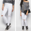 Summer Women Stretch Slim Pencil Pants Full Length Sexy Ripped Hole Skinny High Waist Trousers Plus Size Pantalon Femme 2017 women boyfriend hole ripped jeans skinny pencil pants cool denim vintage straight for girl mid waist casual pants female