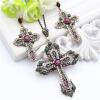 Винтаж турецких женщин цветок креста ювелирные изделия устанавливает античный золото цвет смолы крест серьги Rhinestone крест ожер