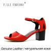 Компания F. lli.ФАБИАНО 2015 новая модель женские босоножки на низком каблуке Ранг пробивать Пирсинг натуральной кожи сандалии X2083A итальянский Стиль Красный s