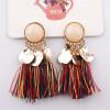 Серьги Tassel Dangle Bohemian Earrings для женщин Монета Boho Fringe Drop Серьги Камни Vintage Jewelry Brincos statement rhinestone tassel dangle earrings