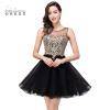 2018 Новые платья для выпускного вечера в черном платье | Золотые аппликации Короткие платья для коктейлей