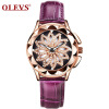 OLEVS Brand Luxury Women Watches Gold hollow out Красивый дизайн Кварцевые женские часы Red Leather Clock Wristwatch Luminous keep in touch couple watches for lovers luminous luxury quartz men and women lover watch fashion calendar dress wristwatches