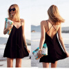 Летняя приморская курортная юбка женская пляжная юбка сексуальная глубокая V спина крест платье маленькая черная юбка ремень юбка